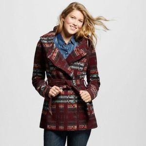 Mossimo Supply Tribal Print Faux Wool Wrap Coat